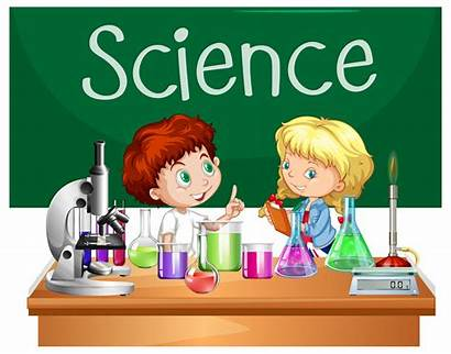 Science Class Students Vector Cartoon Clipart Lesson