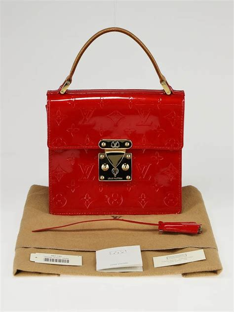 louis vuitton red monogram vernis spring street tote bag