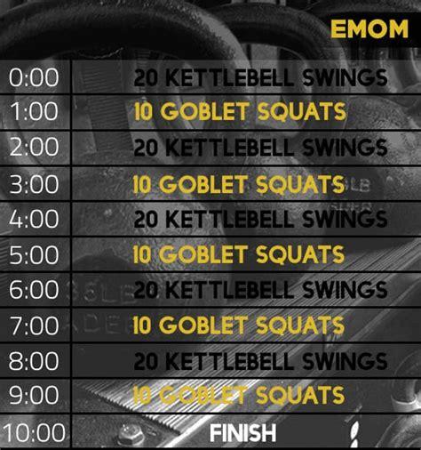 emom kettlebell workout squat swing goblet sets juanlugofitness