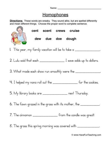 homophones worksheets for second grade homophones best