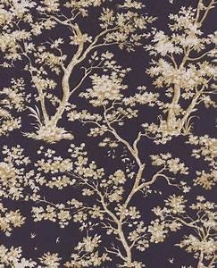 Papier Peint Noir Et Doré : papier peint intiss toile de jouy dor fond noir ~ Melissatoandfro.com Idées de Décoration