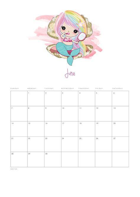 printable  kawaii mermaid calendar  cottage