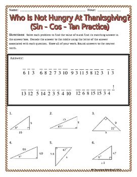 right triangles sin cos tan thanksgiving riddle worksheet tpt