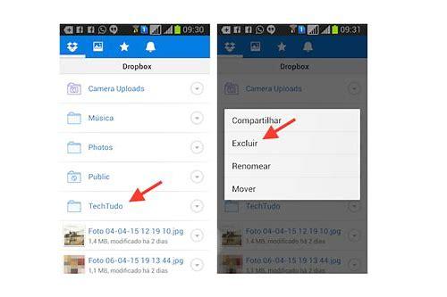 como baixar fotos do dropbox para o celular