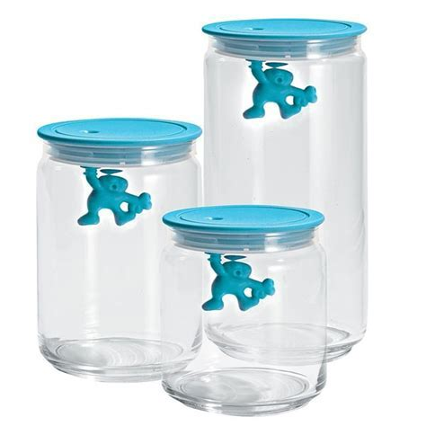 Alessi Gianni Storage Jar   light blue glass container
