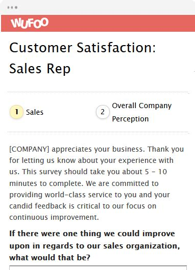 Customer Survey Form Template by Survey Form Templates Wufoo