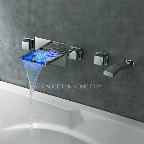 High End Waterfall Wall Mount Bathtub Faucet With Hand Shower