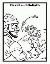 Coloring Pages Goliath David Sling Hit Hand Related sketch template