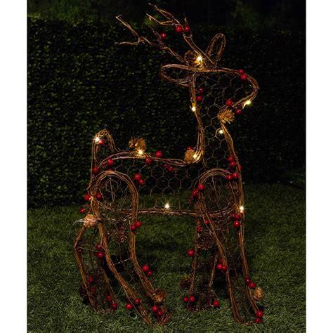 alpine rattan christmas reindeer decoration  led