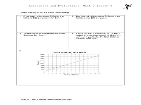 modeling linear relationships planning a wedding worksheet for 7th 9th grade lesson planet