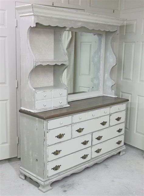 shabby whitekhaki grey double dresser  mirror hutch