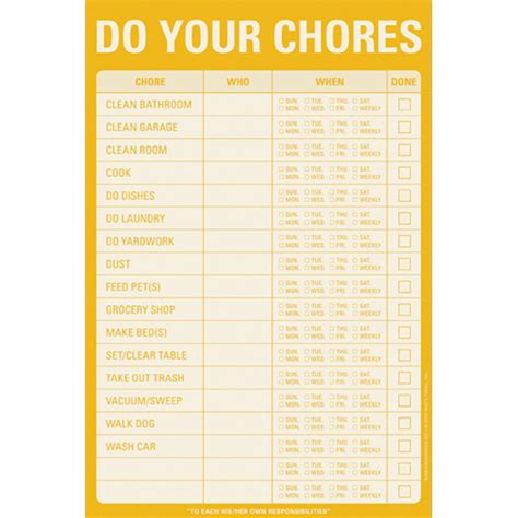 Household Chore List Notepad In Notepads And Pens