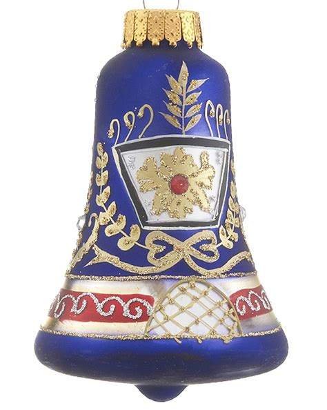 blue glass bell christmas ornament traditional