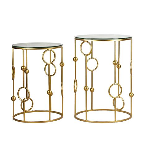 round metal end table joveco golden modern designed accent metal round end table