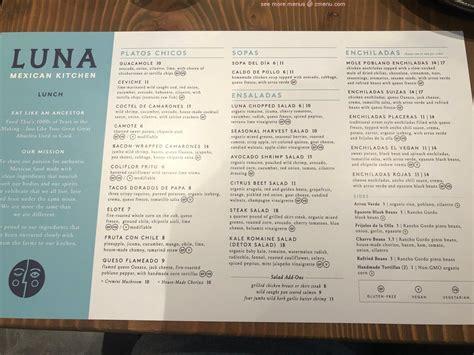 menu  luna mexican kitchen  pruneyard