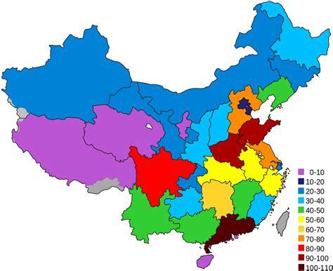 pr china provinces  population map maps authentic