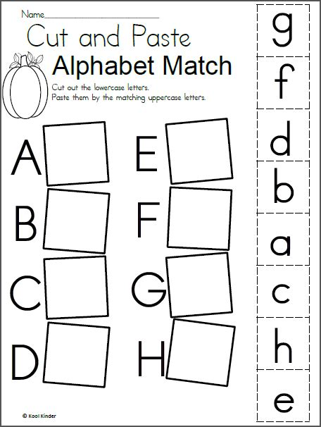 alphabet match worksheet for fall madebyteachers