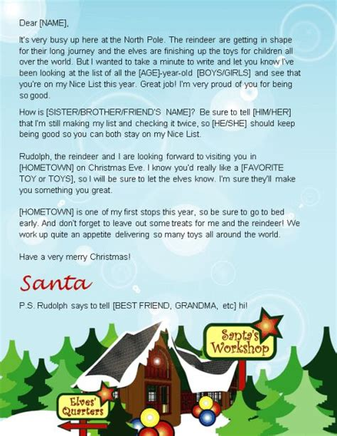 letter  santa template word   send  kids