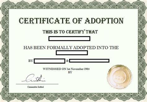 fake adoption certificate joke prank funny adoption