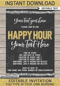 Invitations For Parties Chalkboard Happy Hour Invitation Template Printable