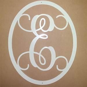 single monogram letter with circle border front door decor With single letter monogram for front door