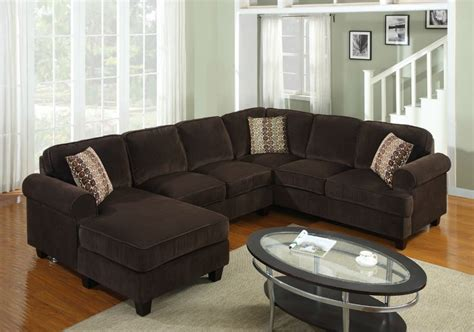 pc modern brown corduroy sectional sofa living room set