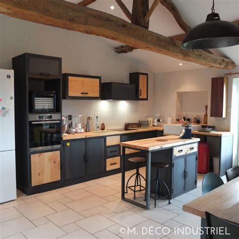 cuisine style industriel îlot centrale de cuisine style industriel tôle bleuté et