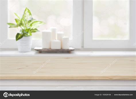 Window Sill Products by Wooden Table Blurred Window Sill Background Product