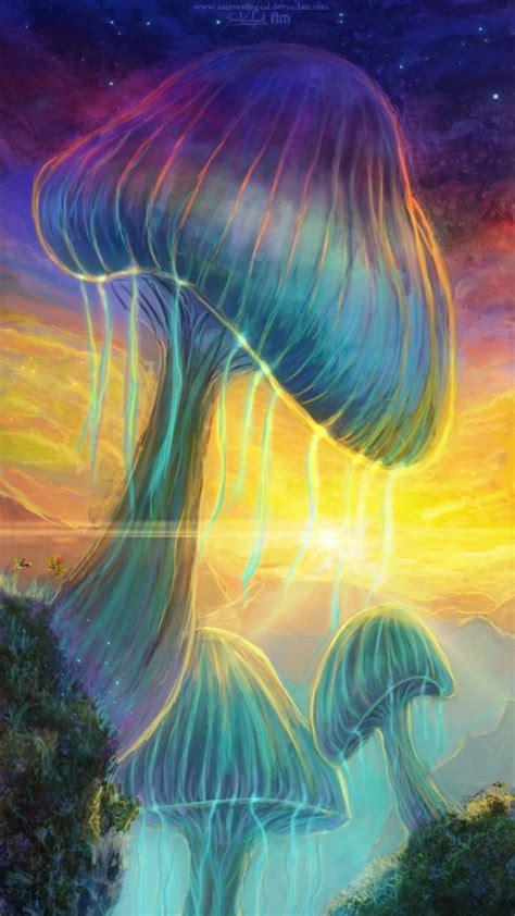 mushrooms psychedelic fantasy art wallpaper