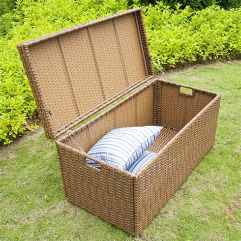 jeco wicker patio storage deck box in honey ori003 c