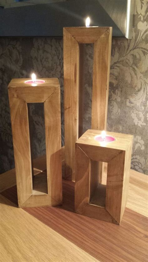hand  trio  candle holders  reclaimed wood