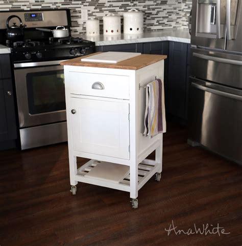 ana white build    small kitchen island prep cart