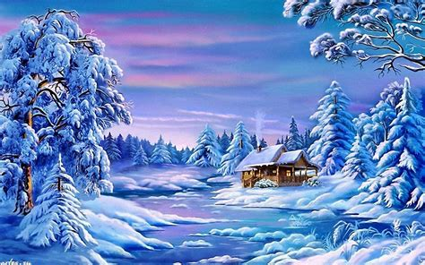 Landscape Winter Frozen River House Trees With Snow