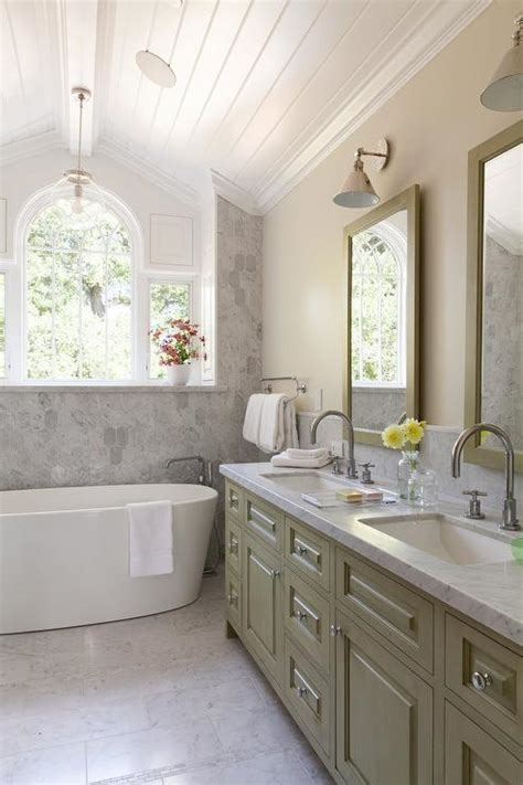 green double bathroom vanity  carrera marble