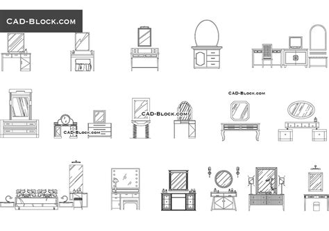 Dressing tables CAD Blocks free download, DWG