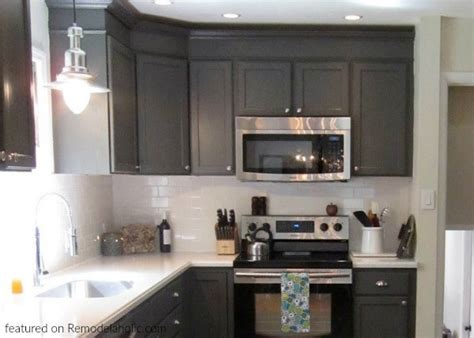 remodelaholic painted dark grey kitchen cabinets
