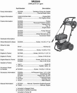 Excell Pressure Washer Model Vr2300 Replacement Parts
