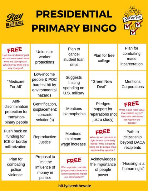 bay resistance presidential primary debate bingo