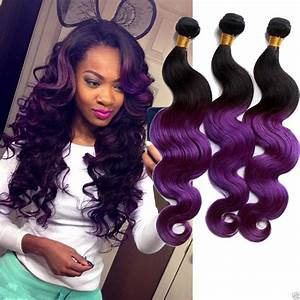 Purple Ombre Malaysian Hair Extension Cheap 3 Bundles Hu ...