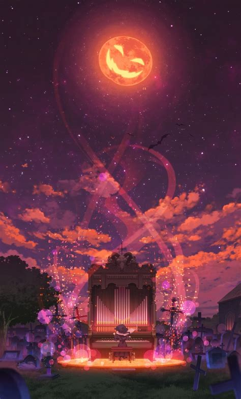 wallpaper anime girl halloween piano pumpkin moon
