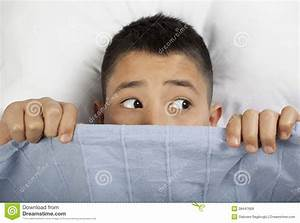 Scared Boy Hiding In Bed Royalty Free Stock Images - Image ...