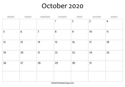 blank october calendar editable whatisthedatetodaycom