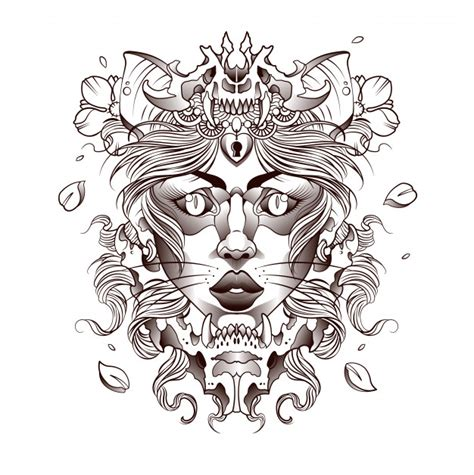 tattoo   beautiful girl cat forest spirit vector