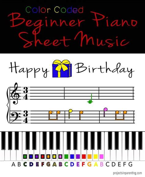 Happy birthday piano notes happy birthday is a great piece to learn to play on the piano because you can have lots of fun playing it at various different. Happy Birthday Color Coded Beginner Piano Music Sheet | Etsy