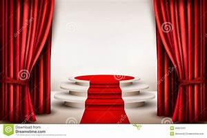 fond avec les rideaux et le tapis rouge menant a un podium With tapis rouge avec canapé moroso