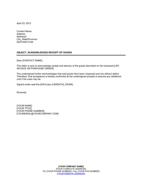 acknowledgement letter format  receipt  documents
