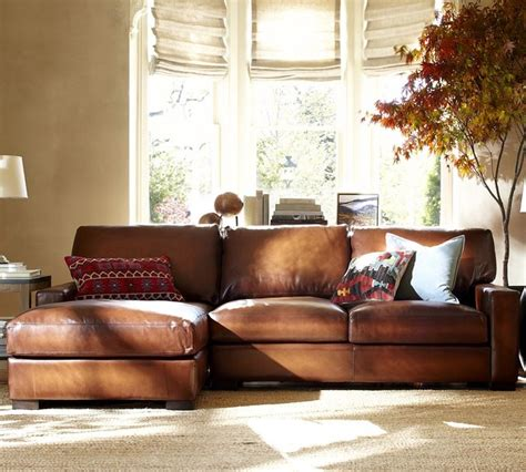 pottery barn turner leather sofa turner leather 2 piece sectional with chaise traditional