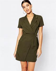 missguided utility wrap dress khaki in green lyst With robe portefeuille chic