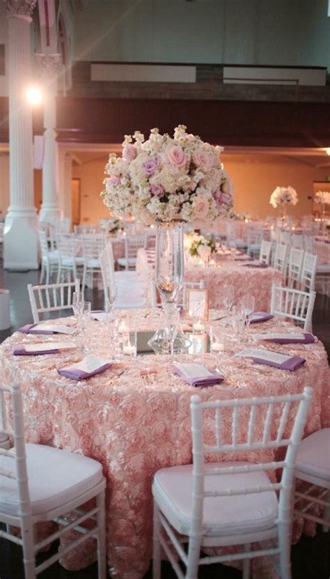Blush satin rosette tablecloths NEW ITEMScvlinens