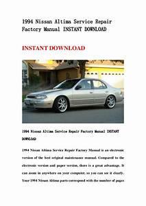 1994 Nissan Altima Service Repair Factory Manual Instant